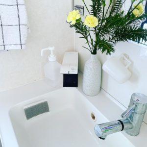 洗面所と花瓶